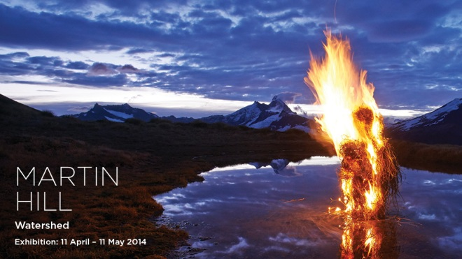 A striking image of fire and water by Martin Hill from his exhibition 'Watershed' at Mossgreen galleries, Melbourne