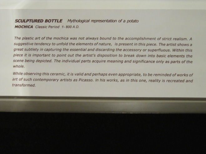 A description of the Moche potato pottery, Larco Museum, Cusco, Peru