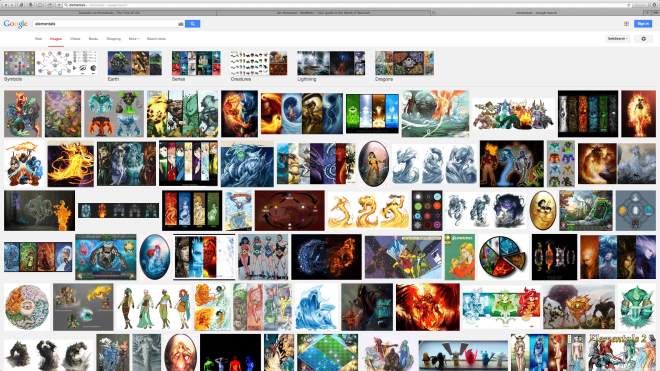 Images on Google when you use the search word 'Elementals'. Colourful isn't it!