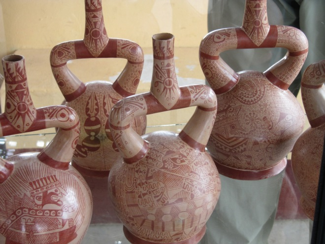 Modern recreations of Moche fine-line pottery, san Jose de Moro archaeological site, Peru