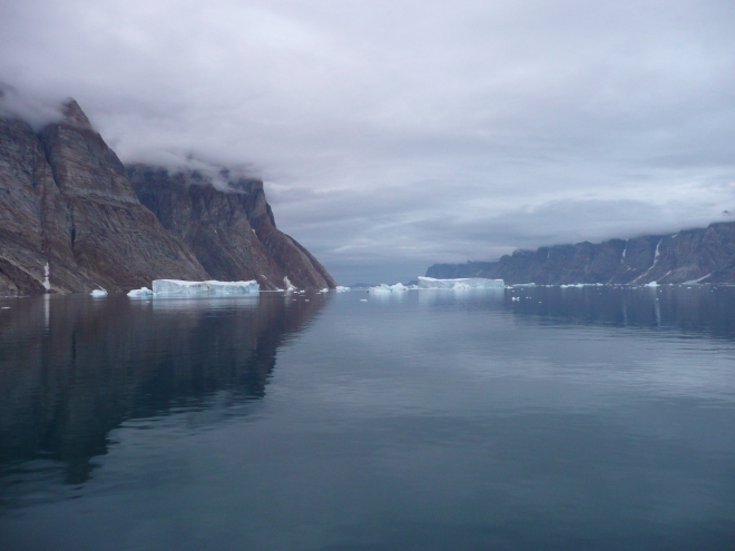 Travelling along this fjord in Greenland at midnight was truly magical