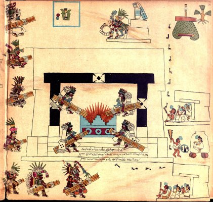 The New Fire Ceremony illustrated in the Codex Borbonicus (Source: Wikipedia). Four high priests take 52 pieces of wood to be burned in the sacred fire. This is the source used to reignite fires across the Aztec empire at the beginning of the new 52 year cycle.