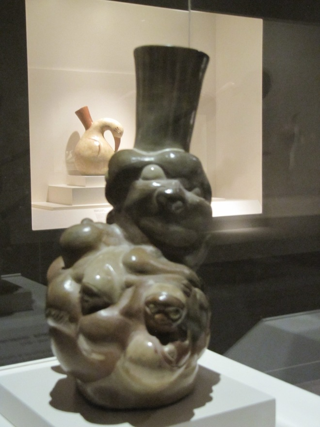Two Moche representations of nature - a potato tuber and cormorant, Larco Museum, Cusco, Peru
