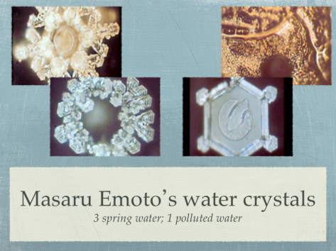 Photographs by Masaru Emoto of frozen crystals sourced from natural and polluted water (Source: quakersoatslive blog)..