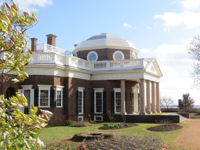 Monticello, Virginia - the home of Thomas Jefferson. The large tree in the foreground, now a stump, dates back from Jefferson's time.