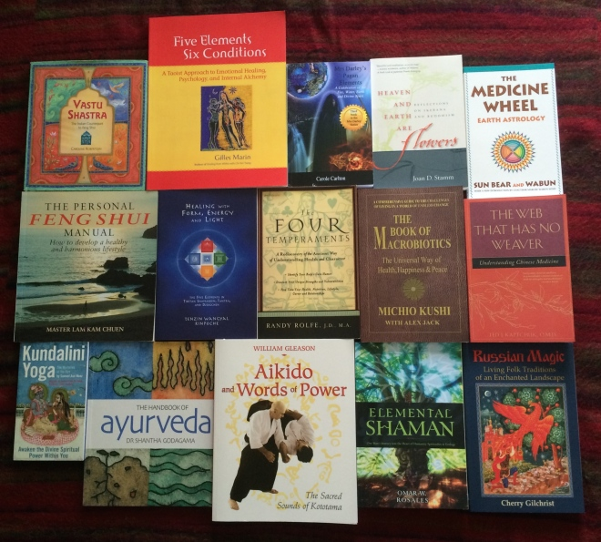 A selection of the impressive selection of books on wellbeing and the elements covered in this post.