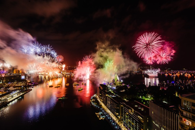 Sydney, Australia see in the 2014 New Year New Year with a spectacular display of fire and water. Source: syndneynewyearseve.com.