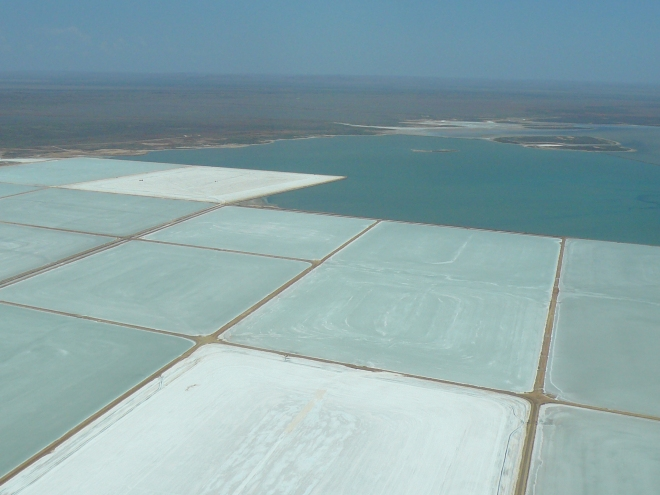 Aerial view of sea water drying in salt pans to become the salt of the earth, near Karratha, Western Australia.