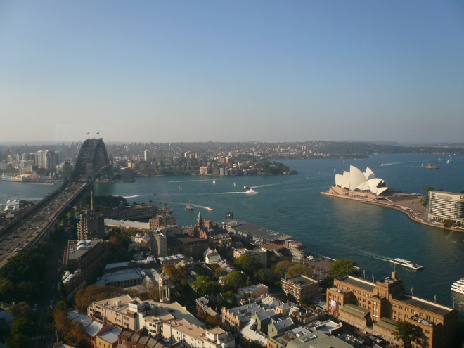 There is a lot of water going under this very large, and very famous, bridge. Sydney Harbour Bridge, Australia.