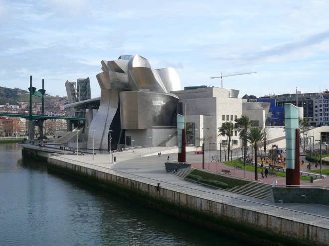 The Guggenheim Museum in Bilbao, Spain is covered in Titanium. It is inspired by **