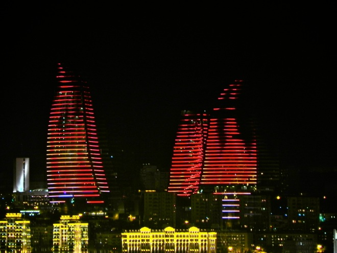 Flame Towers in Baku, Azerbaijan, the Land of Fire (Source: pixgood.com). The simulated flames on the towers at night are produced by LED lights. It would be great to see them in person!