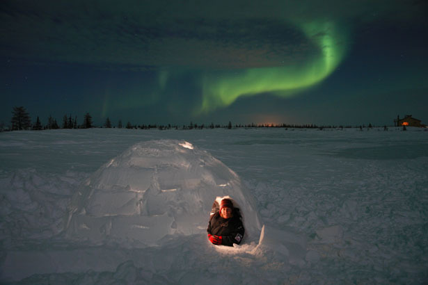 The igloo is made out of solid water. An ingenious design which is quick to build if you know how. Source: www.thestar.com