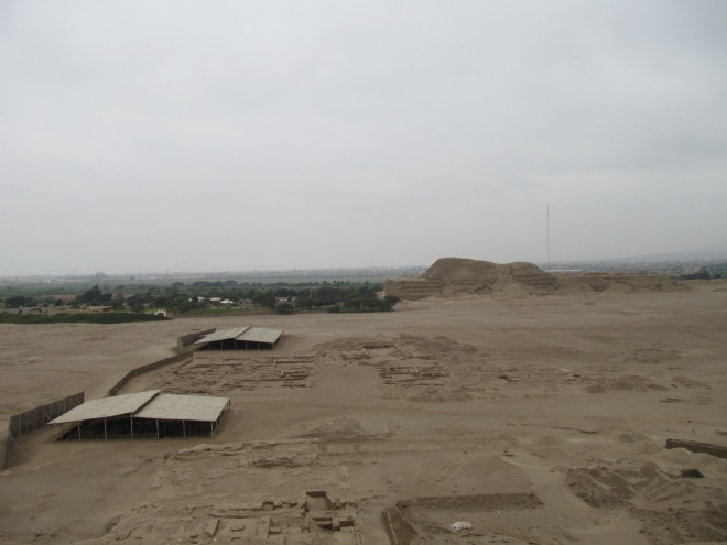 Excavations between the Temples of the Sun and Moon, Trujillo, Peru