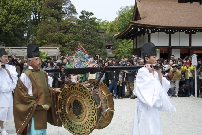 The single drum used in religious music played at the recreation of events dating back 1,500 years. Source: Green Shinto.