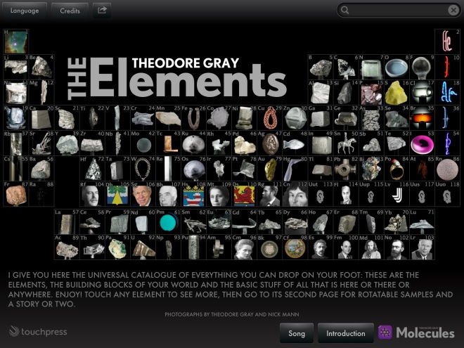 'The Elements' App by Theodore Gray. First released in march 2010.