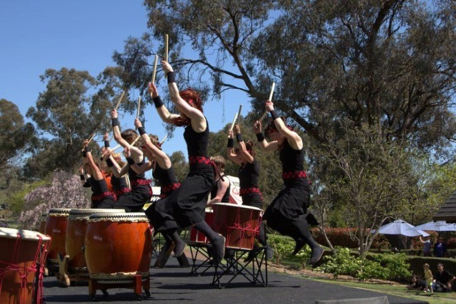 Taiko in the Australian context. A dynamic performance by taiko Drum in Cowra. The great photo was taken by Eric Graudins.