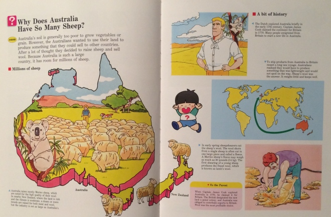 This two-page spread from the 'Geography and Maps' book in the 1996 edition of 'A Child's First Library of Learning' series may help explain why Australian's identify with the Year of the Sheep. For much of it's history wool was the main export for Australia, leading to the expression 'riding on the sheep's back'.