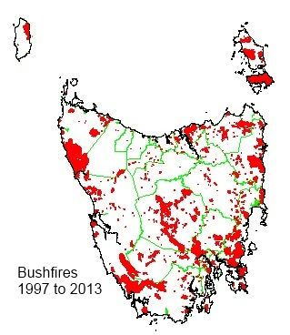 This map of bushfires experienced in Tasmania over the period 1997-2013 shows their wide extent.