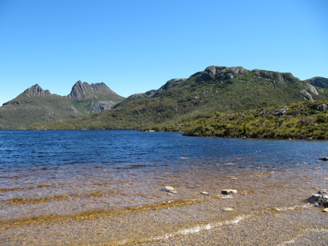Inland Tasmania has many connections to water as well through its lakes, rivers, dams and waterfalls. This image of DoveLake in the Cradle Mountain World Heritage area is one example.