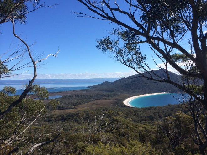 Looking down on Great Oyster Bay (on the left) and Wineglass Bay (on the right) from Mt Graham.