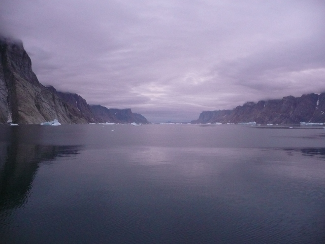 This image is literally the calm before the storm. I have strong memories of travelling from this mesmerising fjord in Greenland to the 'confused seas' off the coast. It seemed like the waves were going in every direction. No photos were possible!