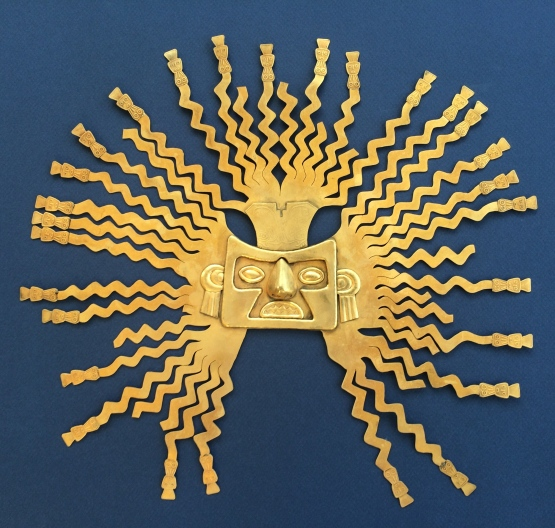 This golden sun mask, from the La Tolita culture in northern Ecuador, has survived the ages. The original is in the Museo de Banco in Quito, Ecuador. Gold was seen as a product of the sun by many cultures in South America.