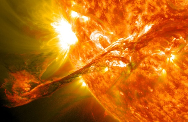 The energy of the sun is captured in this artists impression of a solar flare. It looks like liquid fire. Closer to home the sun on fire is images of the rising and setting sun must be the most Source: APOD.