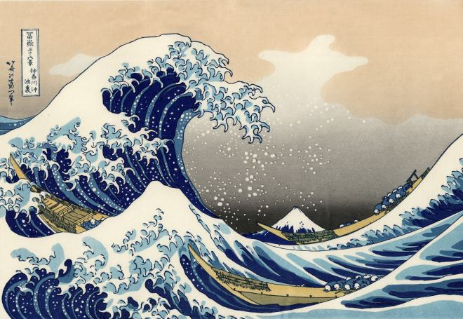 The Great Wave of Kanagawa would have to be the most recognised representation of a wave in art. Created as a wood block by Katsushika Hokusai around 1830, the image has many layers of meaning. Source: Wikipedia.