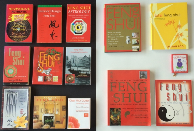 A selection of the books I have collected on feng shui.