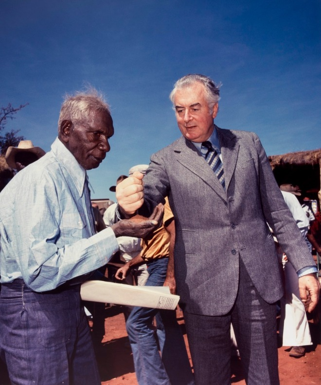 An image indelibly marked in my mind - Gough Whitlam, the Prime Minister of Australia, pouring red soil into the hand of Vincent Lingiari to symbolising the return of their traditional country.