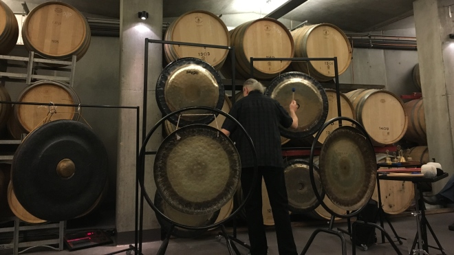 Michael Bettine, a master gong musician, was the first performer I heard at MOFO last weekend. The sounds he was able to create, using metal and its interaction with air, were beautiful.