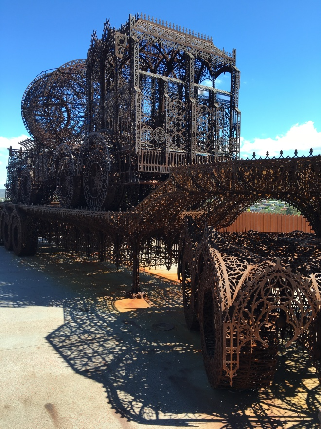 The interaction between metal, water and air in this sculpture by Wim Delvoye at MONA creates a beautiful layer of rust. Given enough time, these interactions will lead to the sculpture corroding to rust dust.