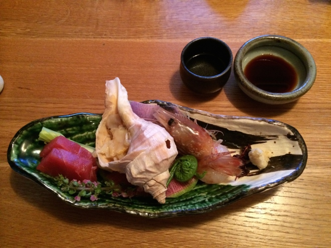 It's intriguing how the presentation of food plays a big part in our enjoyment of food. It is hard to go past the Japanese art of presentation. This seafood was part of a multi-course meal in Asihodate, Hokkaido. Before eating one says 'itidakimas', a prayer of thanks to **