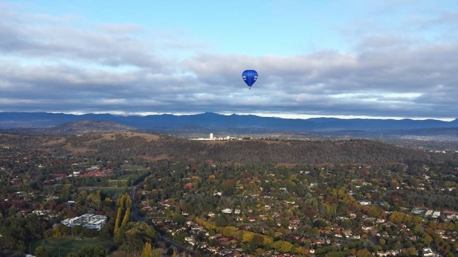 The birds eye view from a hot air balloon gives you a different perspective of the place we call home. This image is of Canberra, the national capital of Australia.