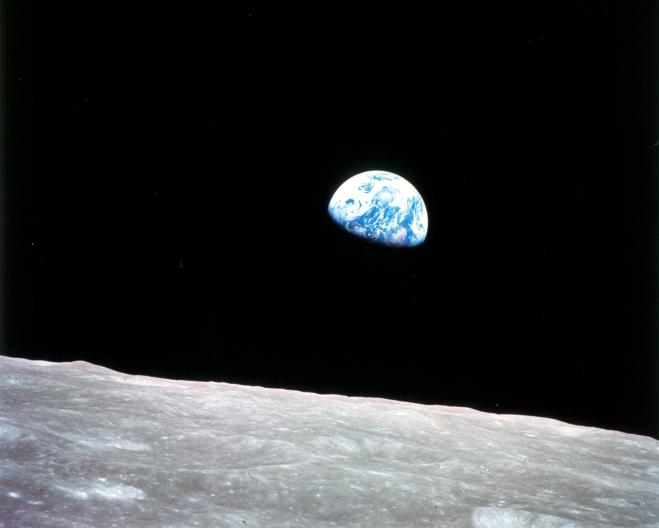 One of the first images of the earth from the moon, taken from Apollo 8 on Christmas eve, 1968. This perspective was influential in stimulating the environmental movement. Source: nasa.gov