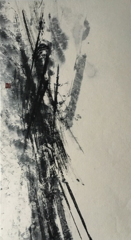 This ink painting by Christine Flint-Sato in the sumi-e tradition. It is part of a series on vertical landscapes and has a fire theme. This is appropriate as the colour of the ink comes from soot made from burnt pine branches. I was fascinated to learn from Christine that soot comes in different colours. This one is tinged with blue.