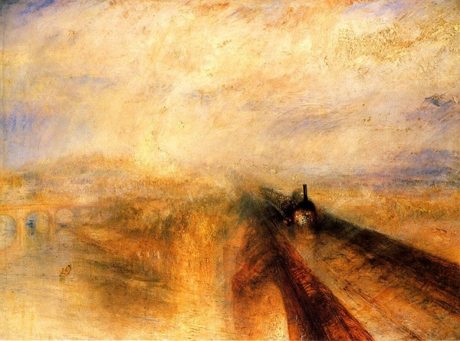 I have read that JMW Turner had a 'nature first' policy when naming his paintings. I like that! This one is called 'Rain, steam and speed: the Great Western Railway.' It was painted in 1844 and illustrates that 'The Sublime' (see text below) was not longer confined to natural phenomena. Source: Wikipedia commons.