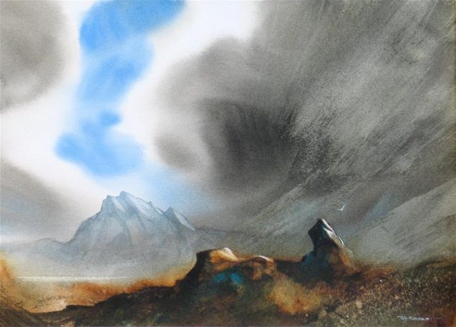 An eye-catching watercolour by Tony Smibert that captures the elements of earth, air and clouds (suspended water droplets) beautifully. Source: alchetron.com, The Free Social Encyclopaedia - this has a very good article on Tony's career.