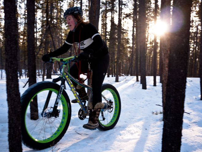 This is a fat bike, designed for soft unstable terrain such as snow, sand, bogs and mud. Source: Wikipedia.