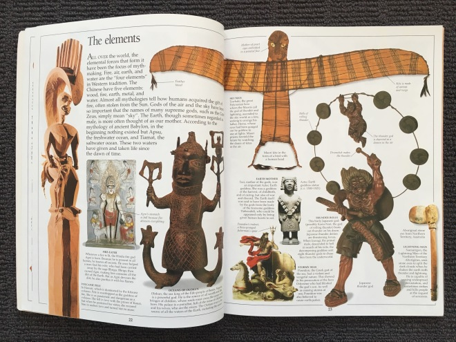 The two page spread on 'The elements' in the Eyewitness book on mythology. There is also a separate entry on floods and storms.