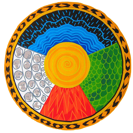 A Medicine Wheel is the basis of the cosmology and five element rituals of the Dagara. The five elements are Fire (red), Water (blue), Earth (yellow), Mineral (white) and Nature (Green). The elements have related colours, as noted, and directions. Source: malidoma.com.