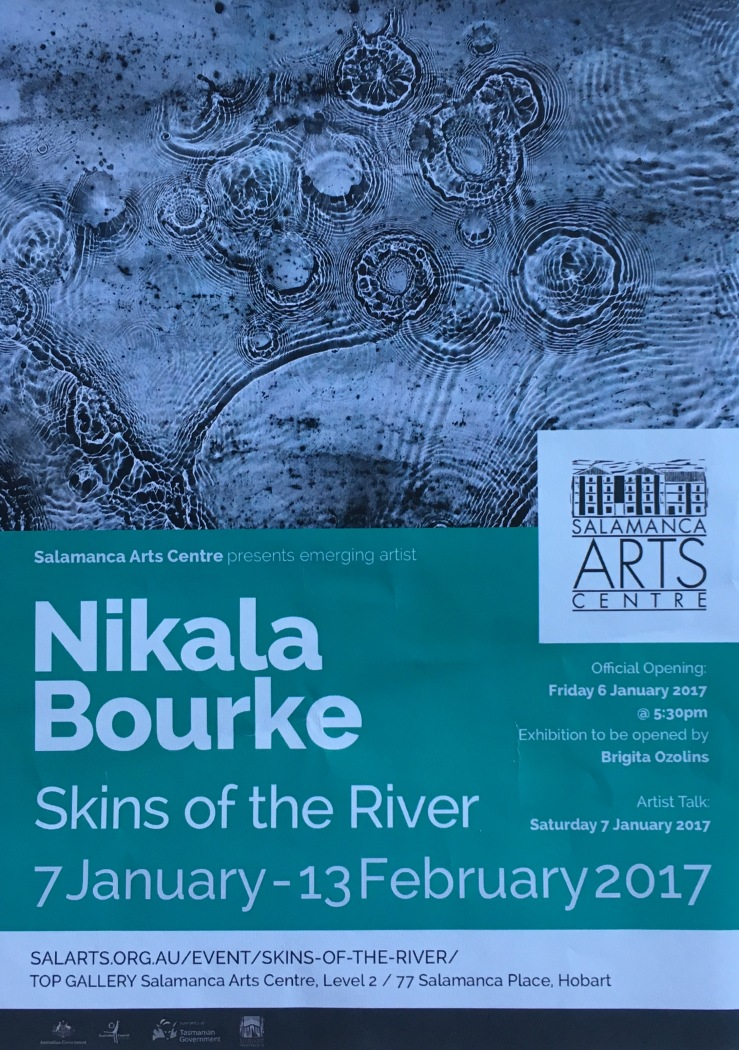 The second exhibition I visited in Hobart in early January 2017 focuses on water. The title 'Skins of the River' really caught my eye. It is being held in the Salamanca Art Centre in Hobart until February 13th as part of the emerging artist program. In Nikala's exhibition the images are presented as a collaboration with water, with the artist submerging hand-cut photosensitised sheets into a river at night. The resultant photograms 'reveal a natural language of symbols and traces: cosmic phenomenon of the river contents, mirroring it's motion, strangeness, wildness, stillness and peace'. The artist reveals more about her relationship with water in the statement associated with the exhibition. Nikala will further explore this relationship in 2017 in her Honours year. I shared two of my posts on water - on 'the blue mind' and the impact of energy/vibrations on water - with the artist. I hope they will assist her research in some small way. I know that after having seen Nikala's exhibition my perceptions of water, especially at night, have been altered irrevocably.