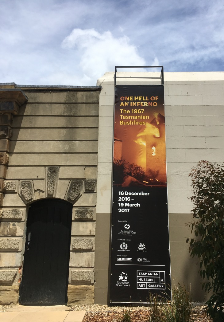 The exhibition 'One Hell of an Inferno' is at the Tasmanian Museum and Art Gallery in Hobart to mark the large fires that burnt the city.